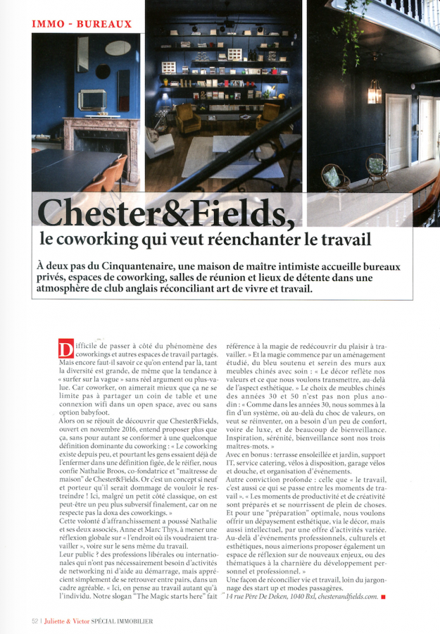 Chester&Fields coworking boutique in Juliette&Victor